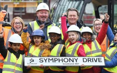 School children choose name for new street being built by TC Homes.